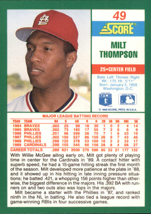 1990 Score #49 Milt Thompson back image