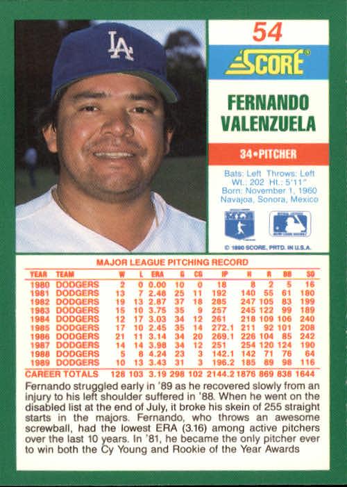 1990 Score #54 Fernando Valenzuela back image