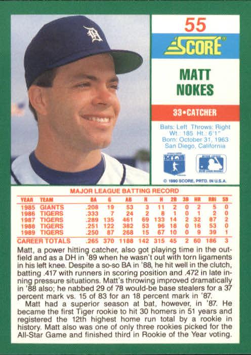 1990 Score #55 Matt Nokes back image