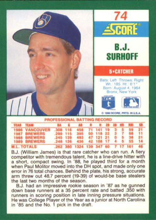 1990 Score #74 B.J. Surhoff back image
