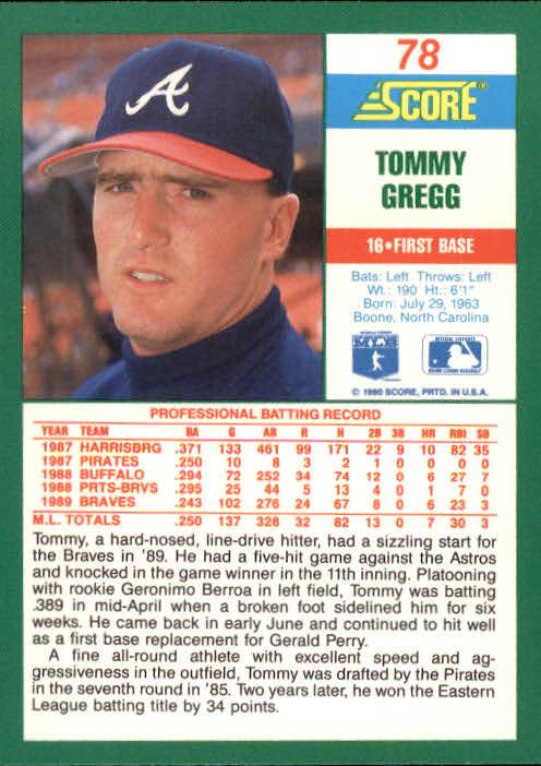 1990 Score #78 Tommy Gregg back image