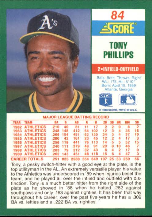 1990 Score #84 Tony Phillips back image