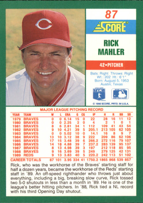 1990 Score #87 Rick Mahler back image