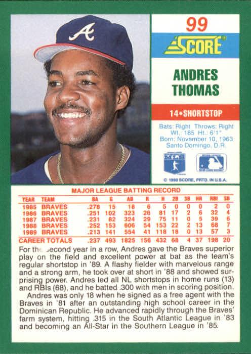 1990 Score #99 Andres Thomas back image