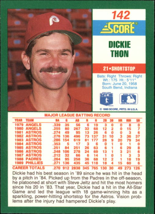 1990 Score #142 Dickie Thon back image