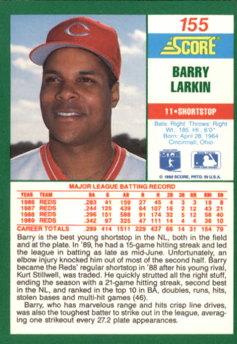 1990 Score #155 Barry Larkin back image