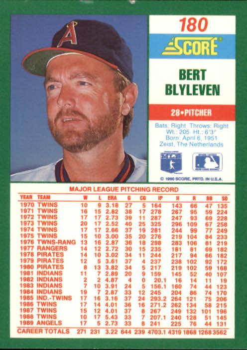 1990 Score #180 Bert Blyleven back image