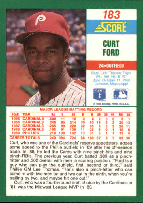1990 Score #183 Curt Ford back image