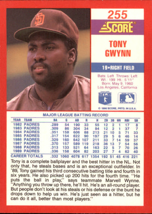 1990 Score #255 Tony Gwynn back image