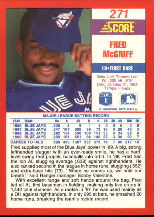 1990 Score #271 Fred McGriff back image