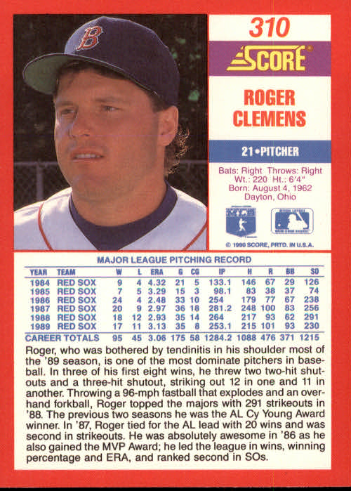 1990 Score #310 Roger Clemens UER/Dominate, should/say dominant back image