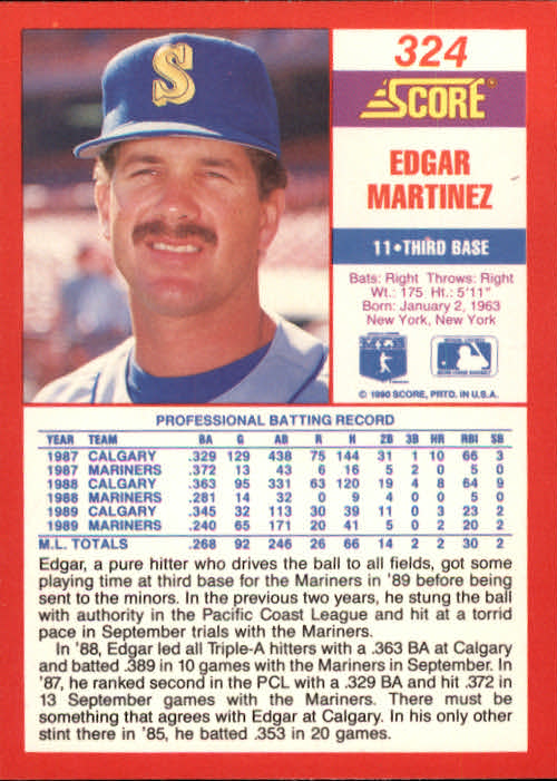 1990 Score #324 Edgar Martinez back image
