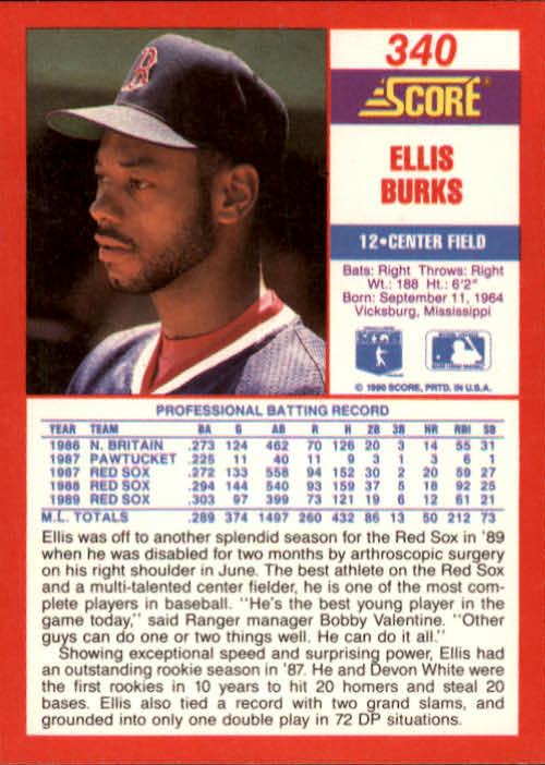 1990 Score #340 Ellis Burks back image