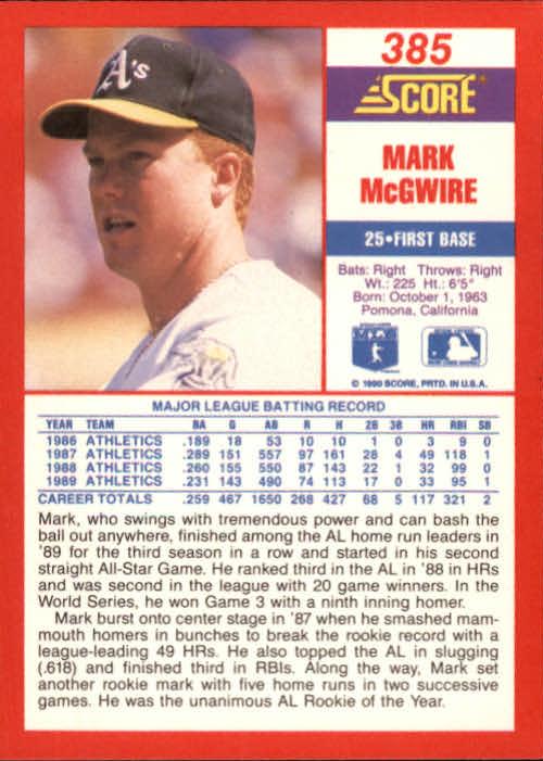 1990 Score #385 Mark McGwire back image