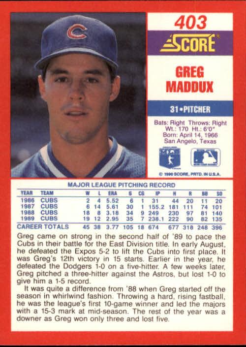 1990 Score #403 Greg Maddux back image