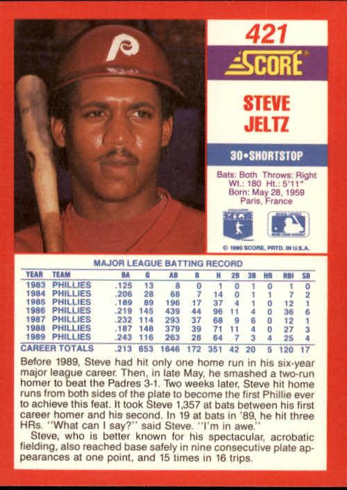 1990 Score #421 Steve Jeltz back image