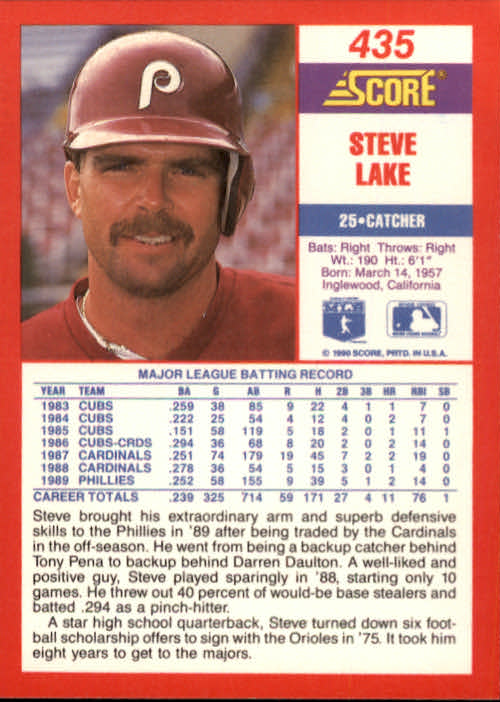 1990 Score #435 Steve Lake back image