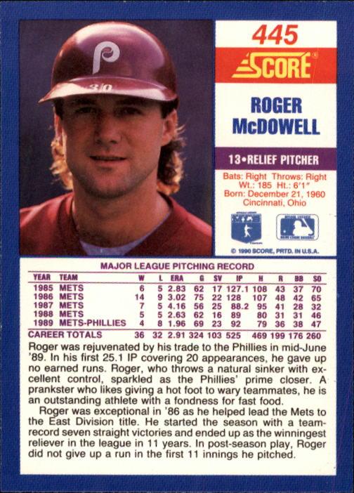 1990 Score #445 Roger McDowell back image