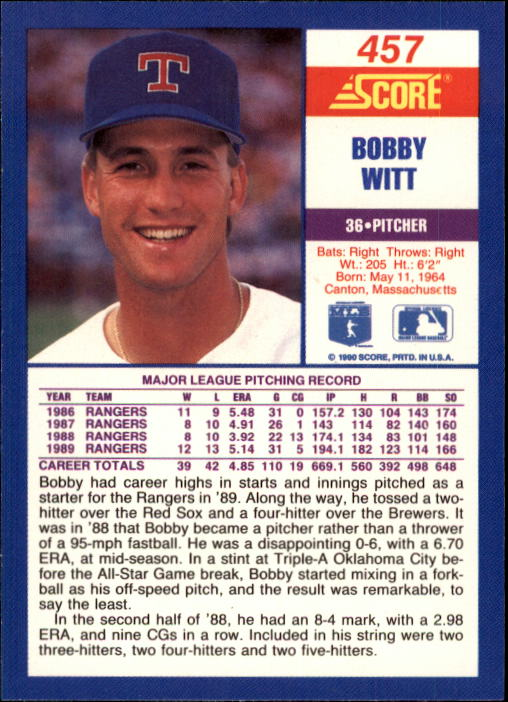 1990 Score #457 Bobby Witt back image