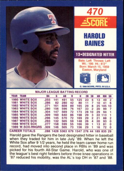 1990 Score #470 Harold Baines back image