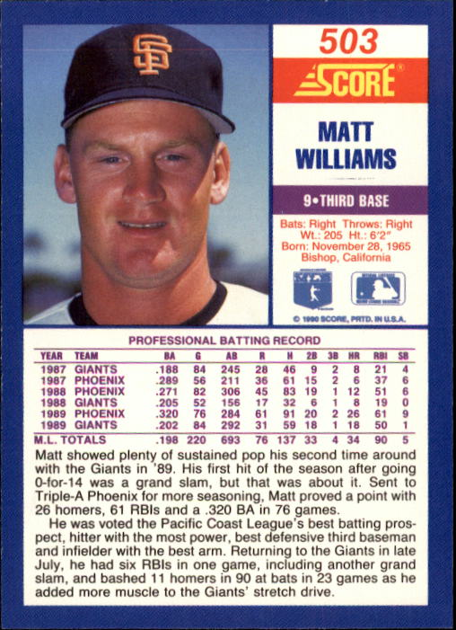 1990 Score #503 Matt Williams UER/Wearing 10 on front,/listed as 9 on back back image