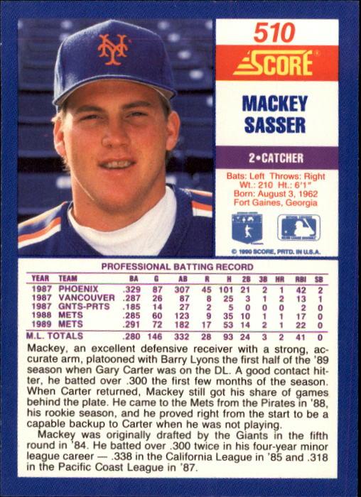 1990 Score #510 Mackey Sasser back image