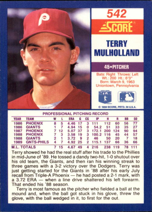 1990 Score #542 Terry Mulholland back image