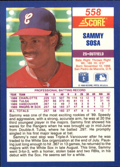 1990 Score #558 Sammy Sosa RC back image