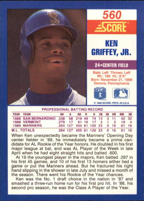 1990 Score #560 Ken Griffey Jr. back image