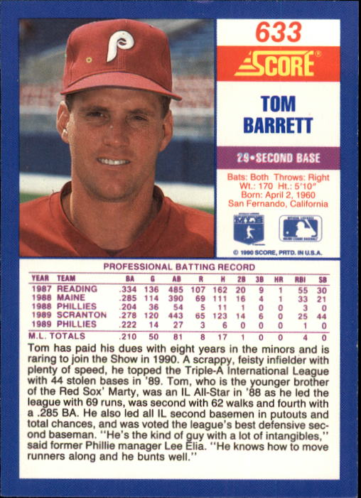 1990 Score #633A Tommy Barrett ERR/29 on back back image