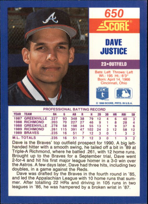 1990 Score #650 Dave Justice RC back image
