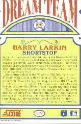 1990 Score #689 Barry Larkin DT back image