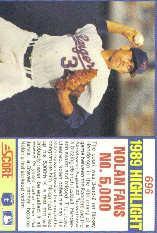 1990 Score #696 Nolan Ryan HL back image