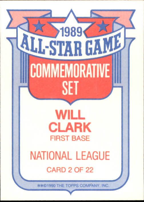 1990 Topps Glossy All-Stars #2 Will Clark back image
