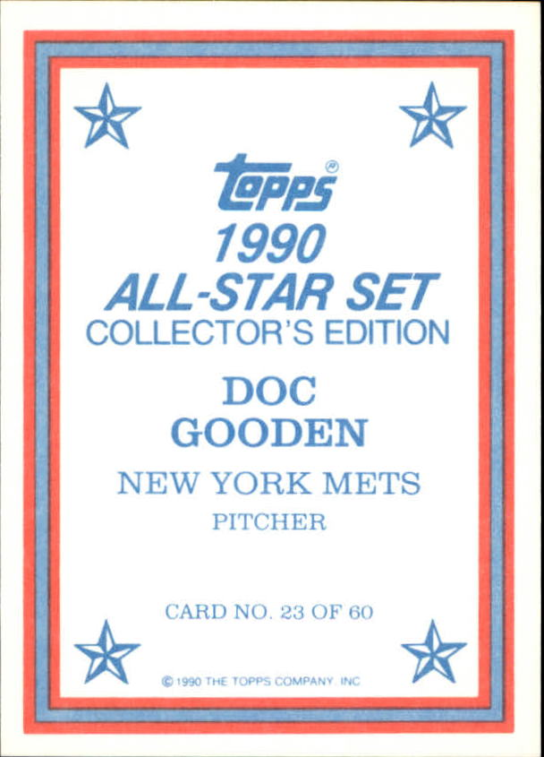 1990 Topps Glossy Send-Ins #23 Dwight Gooden back image