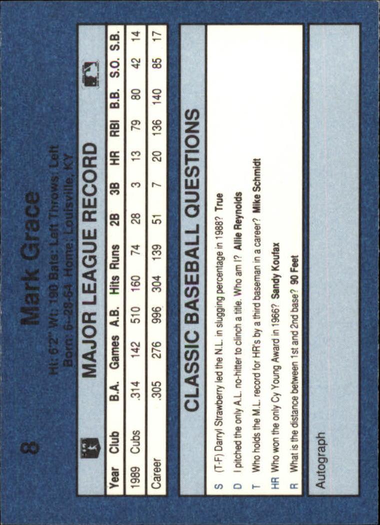 1990 Classic Blue #8 Mark Grace back image