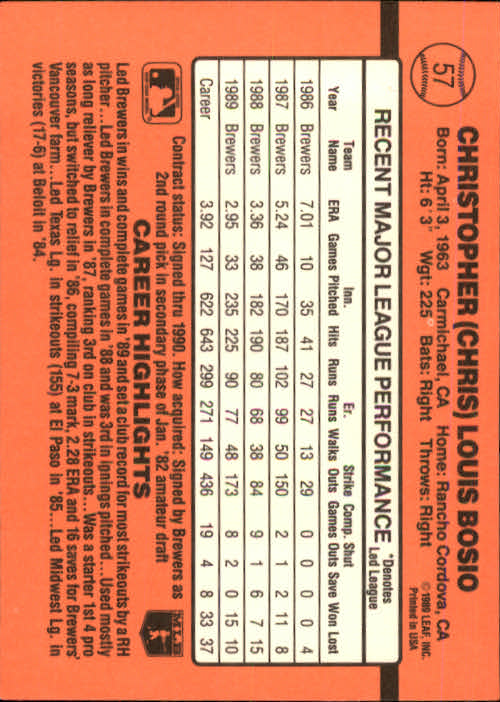 1990 Donruss #57 Chris Bosio back image
