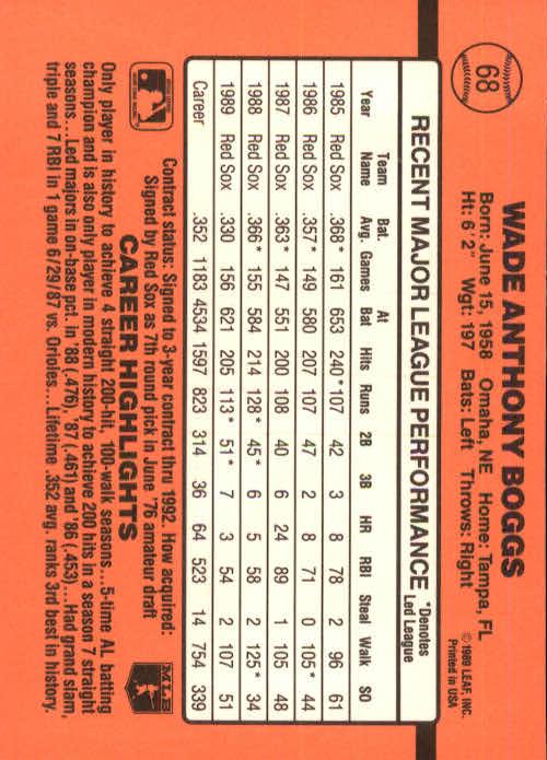 1990 Donruss #68 Wade Boggs back image