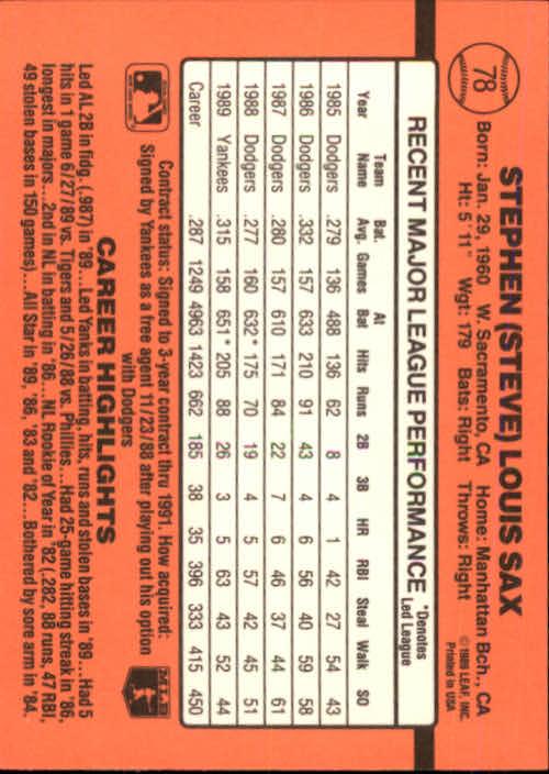 1990 Donruss #78 Steve Sax back image