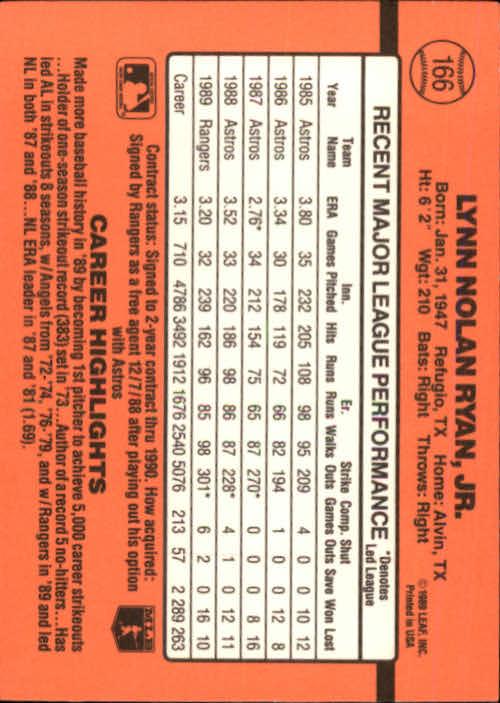 1990 Donruss #166 Nolan Ryan UER/Did not lead NL in/K's in '89 as he was/in AL in '89 back image