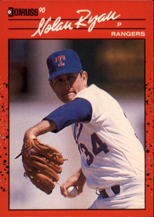 1990 Donruss #166 Nolan Ryan UER/Did not lead NL in/K's in '89 as he was/in AL in '89