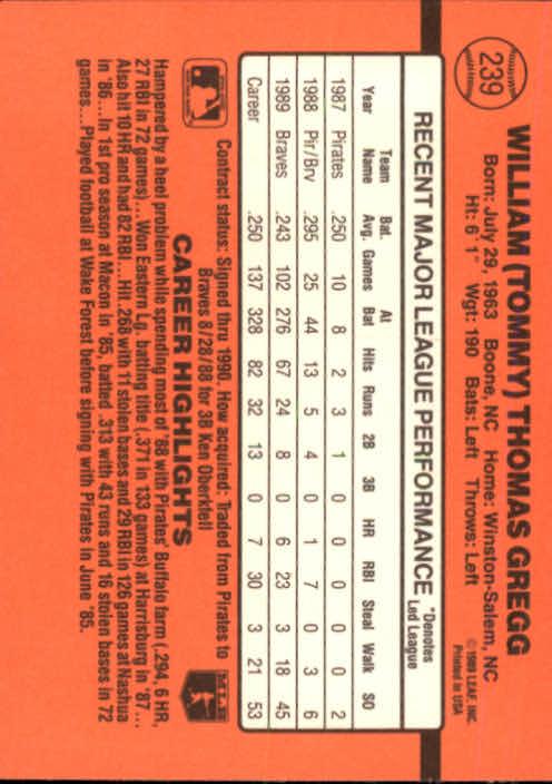 1990 Donruss #239 Tommy Gregg back image