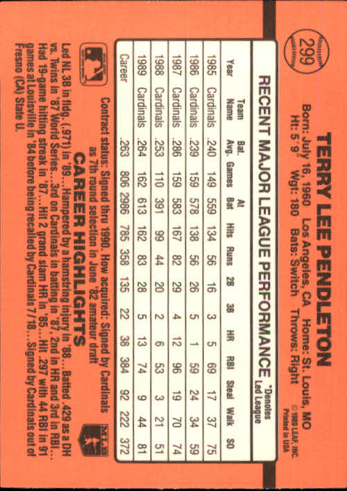 1990 Donruss #299 Terry Pendleton back image