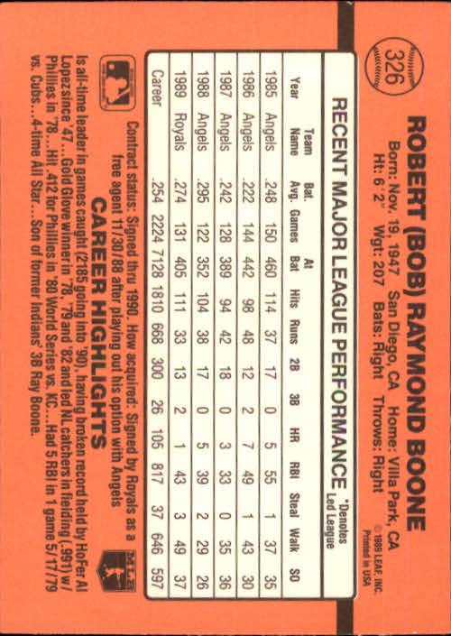 1990 Donruss #326 Bob Boone back image