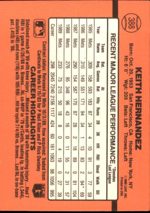 1990 Donruss #388 Keith Hernandez back image