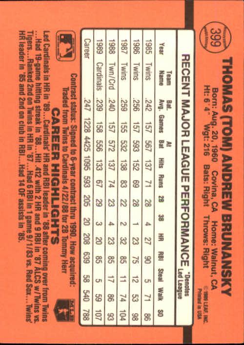 1990 Donruss #399 Tom Brunansky back image