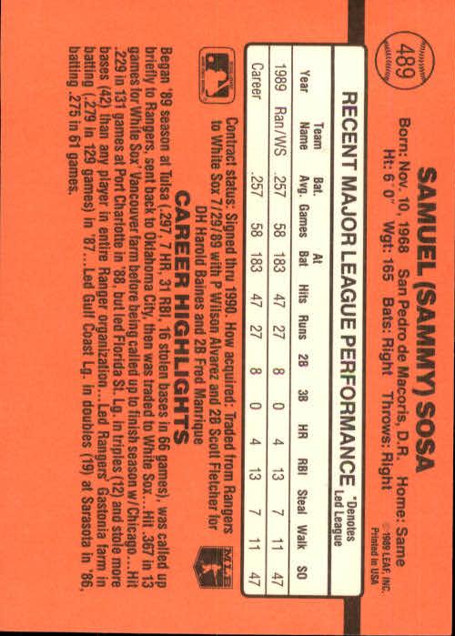 1990 Donruss #489 Sammy Sosa RC back image