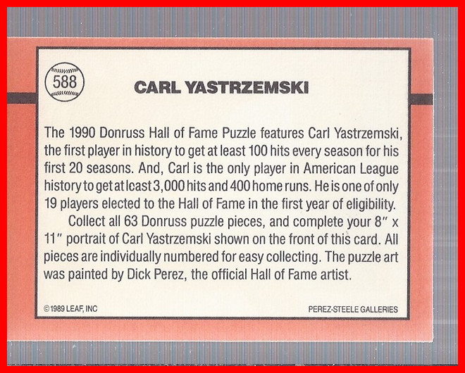 1990 Donruss #588 Carl Yastrzemski/Puzzle Card DP back image