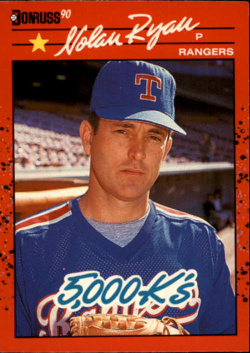 1990 Donruss #659 Nolan Ryan 5000K/COR (Still an error as/Ryan did not lead AL/in K's in '75)