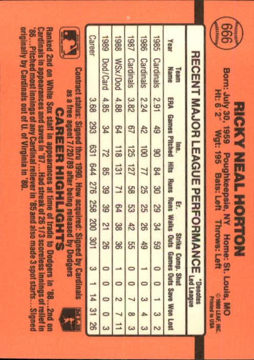 1990 Donruss #666 Ricky Horton back image